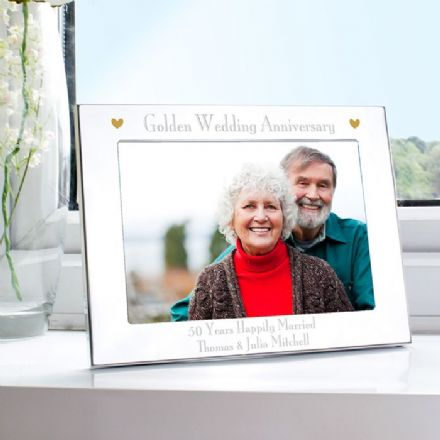 Personalised Golden Wedding Anniversary Landscape 5x7 Photo Frame